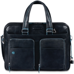 Piquadro Blue Square Expandable Computer Case 15 Night Blue