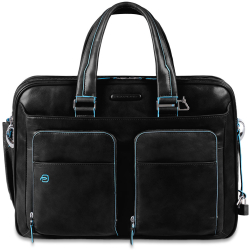Piquadro Blue Square Expandable Laptop iPad case black